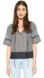 Twelfth St. By Cynthia Vincent Bell Sleeve Top Midnight Tie Print