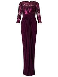 Adrianna Papell Illusion Top And Drape Skirt Mulberry