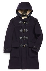 Burberry Brit 'Brockhurst' Hooded Wool Blend Duffle Coat Navy