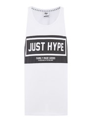 Hype Regular Fit Panel Print Crew Neck Sporting Vest White