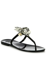Tory Burch Blossom Jelly Thong Sandals Black