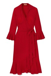 Michael Kors Collection Ruffled Polka Dot Silk Georgette Wrap Dress Red