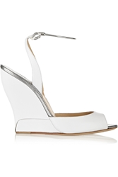 Paul Andrew Delphi Metal Trimmed Leather Wedge Sandals