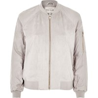 River Island Womens Grey Faux Suede Bomber Jacket