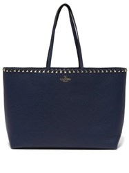 Valentino Rockstud Leather Tote Bag Navy