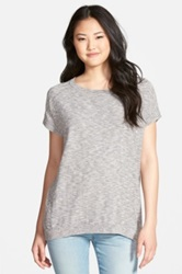 Caslon Slub Cotton Blend Short Sleeve Sweater Gray