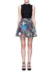 Alice Olivia 'Alexia' Owl Forest Print Box Pleat Dress Black Multi Colour
