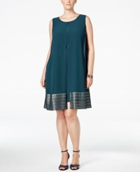 Si Fashions Sl Plus Size Split Front Shift Dress Mid Teal