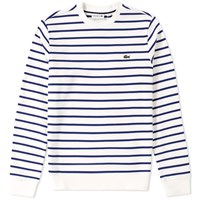 Lacoste Stripe Fleece Crew Sweat White