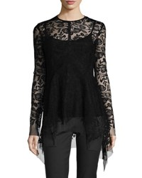 Lela Rose Long Sleeve Embroidered Tulle Top Black