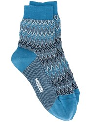 Missoni Chevron Socks Blue
