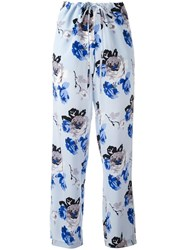 Theory Floral Print Trousers Blue