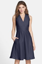Women's Alfred Sung V Neck Dupioni Cocktail Dress Midnight
