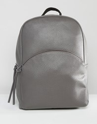 Pieces Textured Backpack Grey
