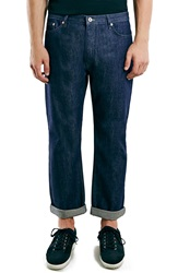 Topman Crop Wide Leg Raw Jeans Blue