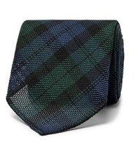 Drakes Drake's 8Cm Checked Silk Grenadine Tie Navy