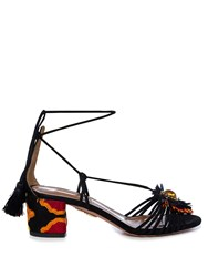 Aquazzura Samba Raffia Embellished Suede Block Heel Sandals Black Multi