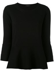 Roberto Collina Flare Hem Top Women Cotton S Black