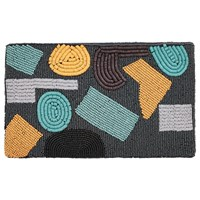 Jaeger Abstract Beaded Clutch Bag Navy