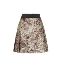 Dolce And Gabbana Metallic Jacquard Pleated Skirt Multicoloured