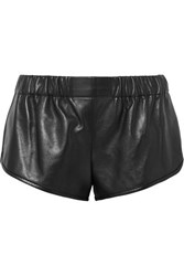Saint Laurent Leather Shorts Black