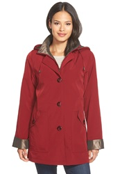 Gallery Bibbed Silk Look Raincoat Regular And Petite Claret