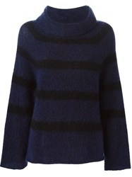 Hache Roll Neck Striped Sweater Pink And Purple