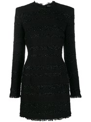 Balmain Short Tweed Dress Black