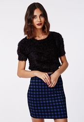Missguided Annelise Sparkle Knitted Fluffy Cropped Jumper Black Black