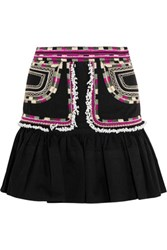Isabel Marant Shad Embroidered Cotton Twill Mini Skirt Black