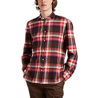Eidos Plaid Cotton Flannel Shirt Red Pat.