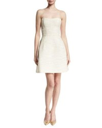 Monique Lhuillier Strapless Boucle Fit And Flare Dress Nude