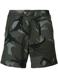 Tom Ford Printed Camouflage Swim Shorts Green