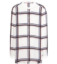 Equipment Henri Collarless Silk Shirt White