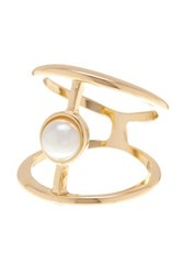 14Th And Union Faux Pearl Harness Cuff Ring Metallic