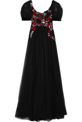 Gucci Embellished Embroidered Tulle Gown Black