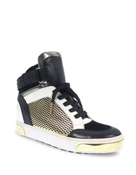 Michael Michael Kors Pia Round Toe Lace Up High Top Sneakers Black