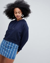 Monki Cropped Hoodie Navy