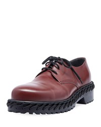 Balenciaga Derby Shoe With Woven Lace Detail Dark Red