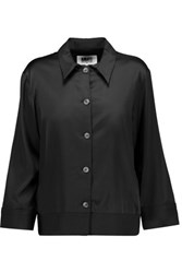Maison Martin Margiela Mm6 Twill Trimmed Satin Blouse Black