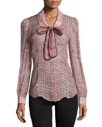Red Valentino Anchor Print Tie Neck Blouse Red Multi