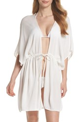 Echo Open Front Cover Up Caftan White