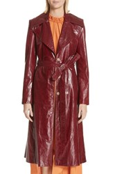 Magda Butrym Leather Trench Coat Bordeaux