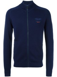 Hackett High Neck Zipped Cardigan Blue