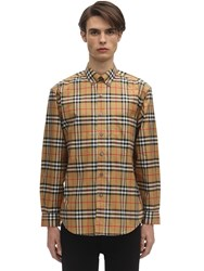 Burberry Check Print Cotton Poplin Jameson Shirt Antique Yellow