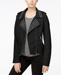 Fair Child Studded Faux Leather Moto Jacket Black
