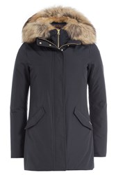 Woolrich Down Jacket With Fur Trimmed Collar Blue