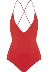 Emma Pake Antonia Lace Up Swimsuit Red