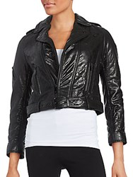 The Kooples Cropped Leather Jacket Black