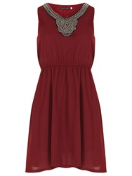 Tenki Chiffon Stud Embellished Party Dress Red